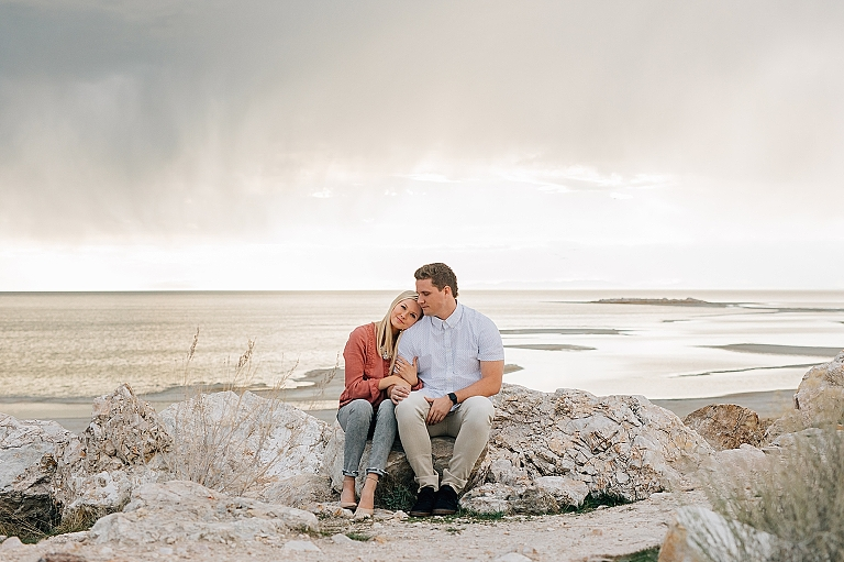 Stormy Antelope Island Engagement Pictures